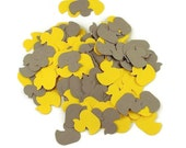 Baby Shower Confetti  Lucky Ducky  in Yellow and Gray Quantity 300 Pieces