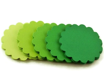 Paper Die Cut Two Inch Scalloped Circles in  Fresh Greens Set of 50