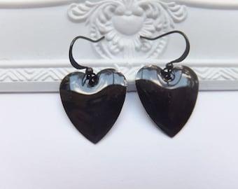 Puffy Black Heart Earrings - Nickel Free Hooks
