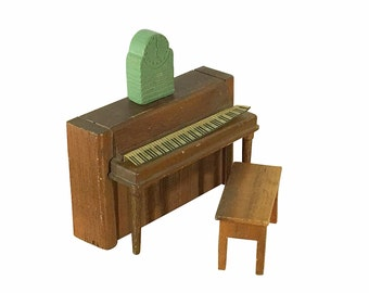 1930s Dollhouse Piano, Bench and Clock, Vintage Strombecker