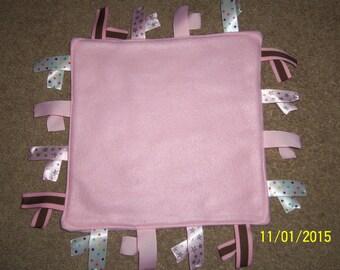 Handmade, Ribbon Blanket, pink fleece