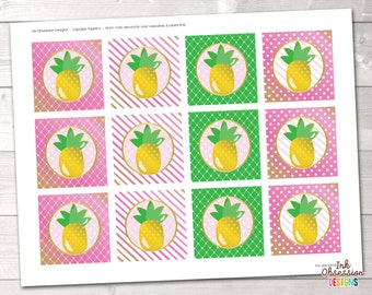 "Pineapple Printable Cupcake Toppers - 2"" Party Circles in Pink and Green - Instant Download PDF"