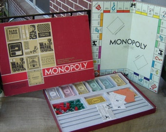 Vintage Monopoly Game 1964 Pewter Game Pieces Original Box