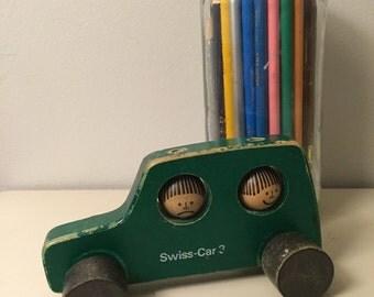 Vintage Mid Century Wood Swiss Toy Car