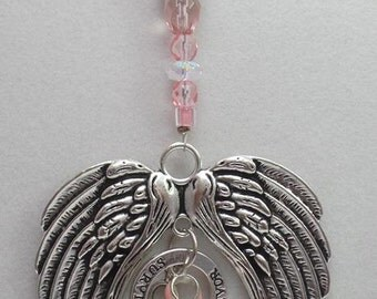 Large Angel Wings Breast Cancer Awareness Christmas Ornament with Pink Ribbon, SURVIVOR and Hope Charms, Glass Beads, Car Mirror Bling