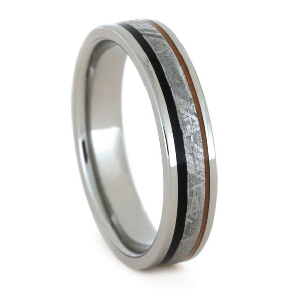 African Blackwood Bands: Meteorite Wedding Ring With Black Wood And By Jewelrybyjohan
