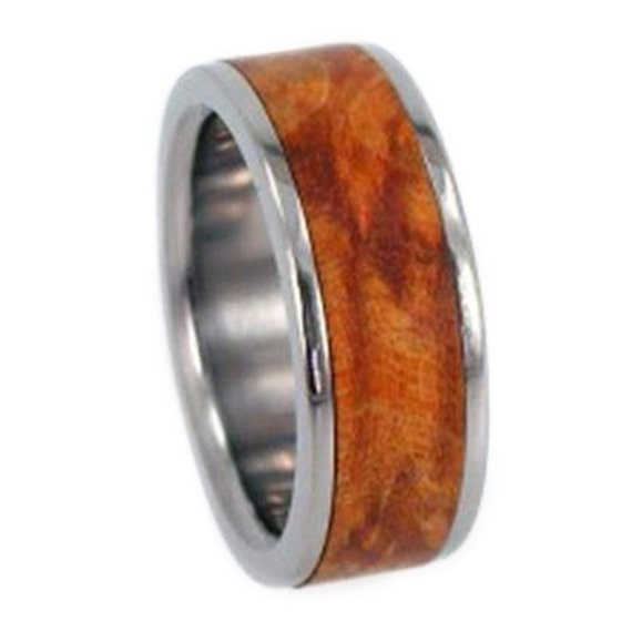 Wooden Ring, Titanium Wedding Band With A Gold Box Elder Burl Inlay, Interchangeable Ring