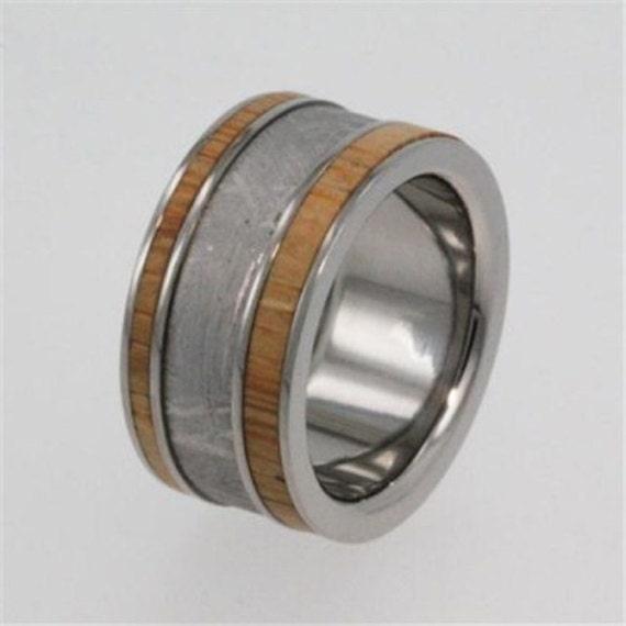 Interchangeable Bamboo Wood Ring, Meteorite Wedding Band, Titanium Pinstripes