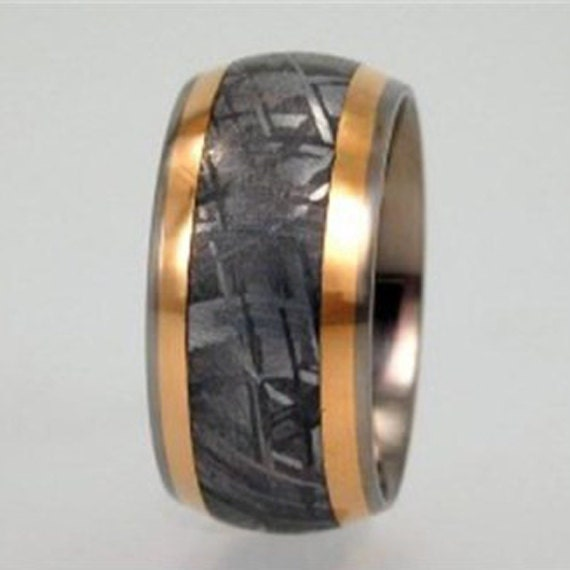 meteorite wedding band 18k yellow gold by jewelrybyjohan