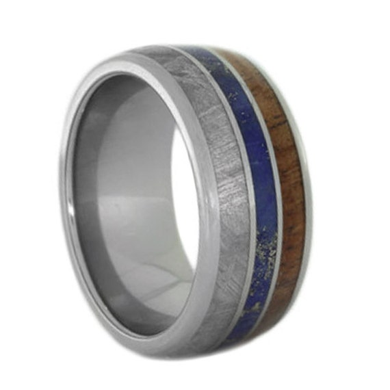 mens wedding band koa wood ring lapis lazuli by jewelrybyjohan. Black Bedroom Furniture Sets. Home Design Ideas