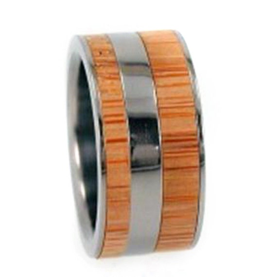 Bamboo Wood Ring, Titanium Wedding Band, Interchangeable Ring, Eco-friendly Jewelry