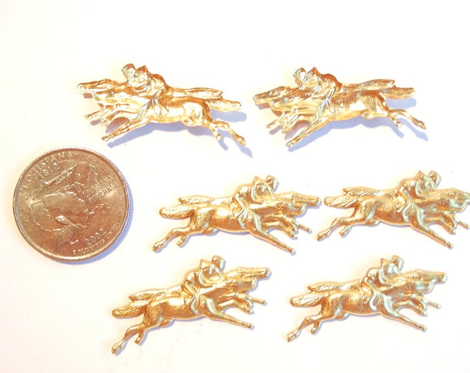 6 Brass Double Racing Horse Stampings