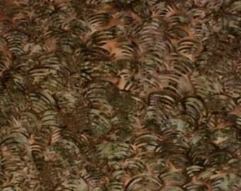 One fat quarter - Brown and Green Waves Batik - 9141