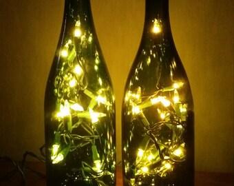 Custom Wine Bottle Light - Lighted Wine Bottle - Wine Bottle With Lights - Lights in Wine Bottle - Wine Bottle Lamp - Recycled Wine Bottle