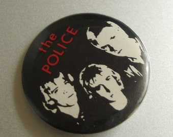 vintage 1980s THE POLICE rock and roll button pin
