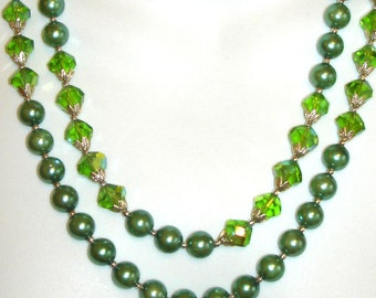 vintage two strand green pearl and iridescent green crystal beaded necklace