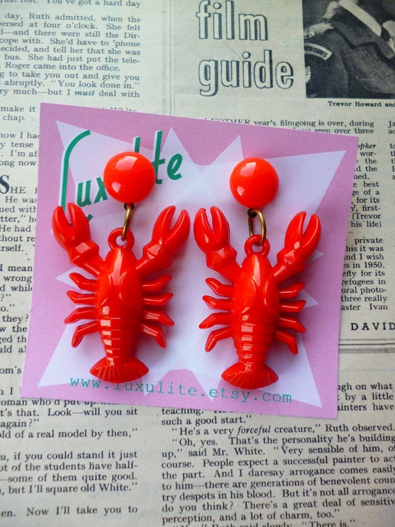 Vintage Style Jewelry, Retro Jewelry Classic Luxulite Novelty Red Lobster Earrings! 1940s vintage inspired earrings handmade by Luxulite $13.33 AT vintagedancer.com
