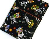 ON SALE 10 Dollars OFF, Tablet sleeve, Sugar Skulls Dogs, Tablet cover, Ipad case, Samsung case, tablet accessory, book accessories