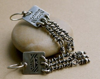 Native Stamped Sterling Silver Earrings with Primitive Rustic Dangles . Rustic Tribal Wabi Sabi Southwestern Boho Jewelry