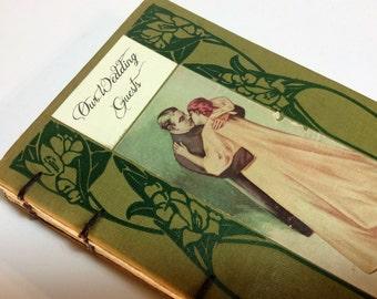 Vintage Lovers Wedding Guest Book by Binding Bee