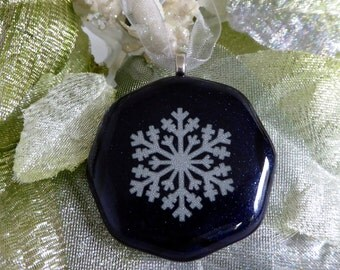 Fused Glass White and Blue Snowflake Christmas Ornament