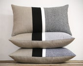 Black & White Chambray Striped Lumbar Pillows - Modern Home Decor by JillianReneDecor (Custom Colors Available) - Pillow Cover