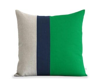 Color Block Stripe Pillow (20x20) Emerald Green, Navy and Natural Linen by JillianReneDecor Modern Home Decor Colorblock Striped Trio Kelly