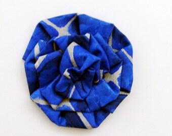 Dazzling Blue Original Art Brooch - Pin / Amparo Blue & Silver Gray Wearable Art Jewelry / Artist Original - Art Bloom Series Gift Under 50