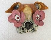 Pug mask, ceramic head, wall hanging