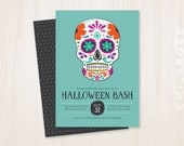 Dia de Los Muertos Halloween Invitation Printable PDF | Sugar Skull | Spooktacular Invite | Teal  | Customized | Digital Download