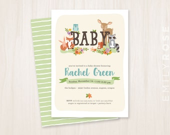 Woodland Animal Baby Shower Invitation Printable PDF | Baby Shower Invite | Gender Neutral | Customized | Digital Download
