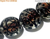 ON SALE 50% OFF Four Hot Flame Lentil Beads 11006512 - Handmade Glass Lampwork Bead Set