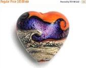ON SALE 50% OFF Handmade Glass Lampwork Bead - Magic Moment Waves Heart Focal Bead - 11833905