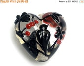 ON SALE 30% OFF Tranquility Vines Heart-11830305-Handmade Glass Lampwork Bead