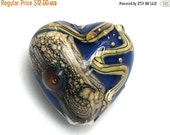ON SALE 30% OFF Transparent Ink Blue w/Free Style Heart -11815705-Handmade Glass Lampwork Bead