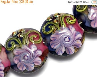 ON SALE 50% OFF Four Grace's Garden Lentil Beads 10108312 - Handmade Glass Lampwork Bead Set