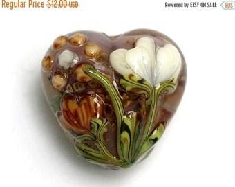 ON SALE 35% OFF Light Orange w/White Floral Heart Focal Bead - Handmade Glass Lampwork Bead - 11814905