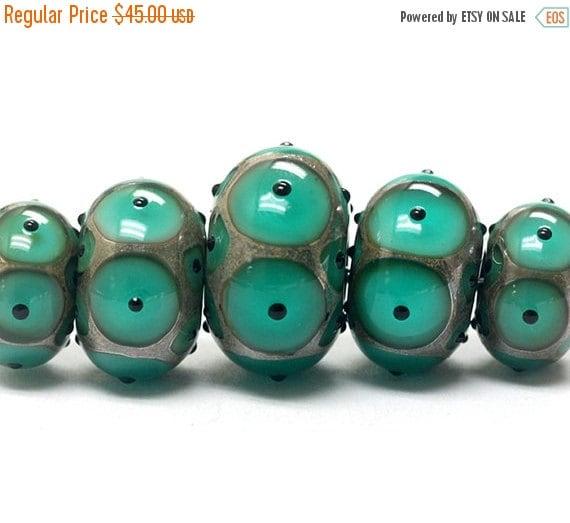 ON SALE 50% OFF Five Graduated Ocean Blue w/Black Dots Rondelle Beads - Handmade Glass Lampwork Beads - 10503801