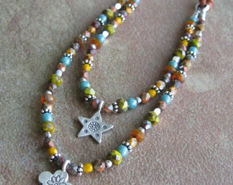 Multi Color Czech Glass Hill Tribes Fine Silver Leather Necklace - Autumn Beaded Pendant Necklace - Double Strand Necklace