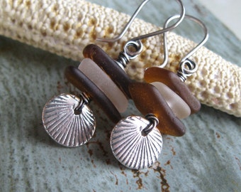 Brown and White Seaglass Sterling Silver Earrings, The Cortez Collection, Genuine Seaglass, Genuine Beach Glass, Los Cabos Jewelry