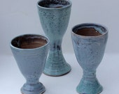Stoneware Goblet Trio for Wine or Flower Arranging Blue Green Stoneware with Crystals
