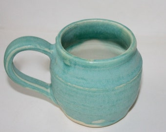 Turquoise Ceramic Mug in Hand thrown Stoneware Holds One Cup White Interior Second Sale