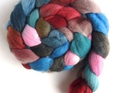 Targhee Wool Roving - Hand Painted Spinning or Felting Fiber, Indoor Garden