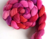 Targhee Wool Roving - Hand Painted Spinning or Felting Fiber, Dreams Come True