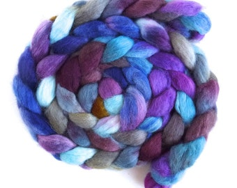 BFL Wool Roving - Hand Painted Spinning or Felting Fiber, Meditative Quiet