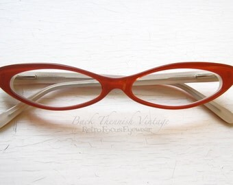 Slim Sexy Cat Eye Eyeglass Frames Vintage 90's NOS Red Back Thennish Vintage