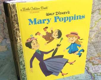 READY TO SHIP! Golden Book Journal Mary Poppins Golden Book Journal with Hand Torn 140lb Cold Press Watercolor Paper