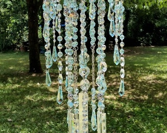 Rain Drops Antique Crystal Wind Chime, Pale Blue Crystal Wind Chime, Garden Decoration, Crystal Wind Chime, Large Crystal Wind Chime