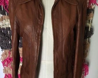 Vintage brown leather 70's jacket