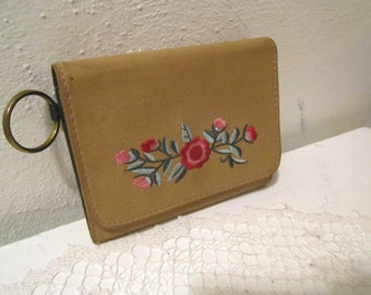Tan color wallet cards and change with floral embroidery women wallet